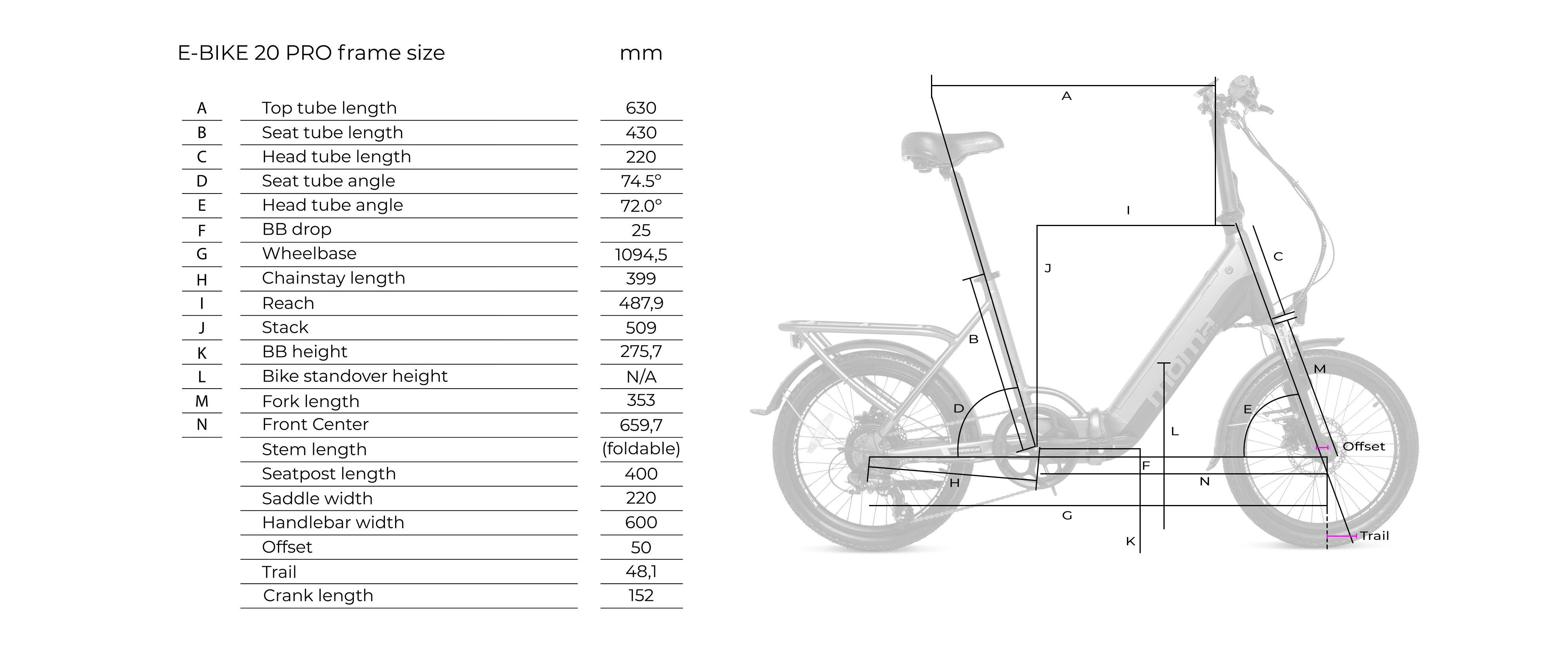 Dimensions du momabikes 20 pro