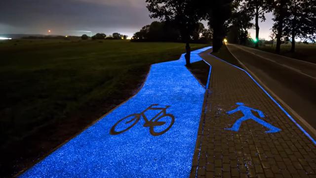 piste cyclable lumineuse en pologne